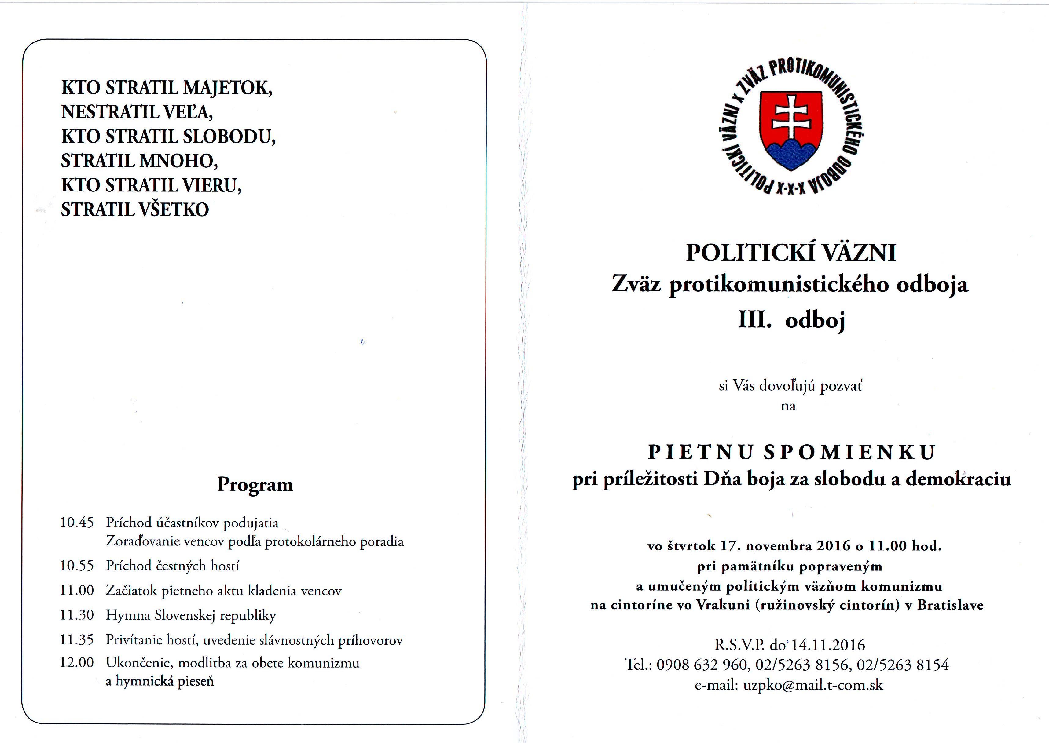 Pozvánka 17. november